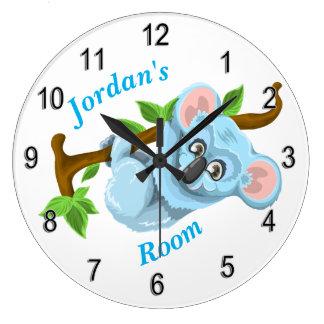 Grande Horloge Ronde Ours de koala mignon de l'horloge des enfants