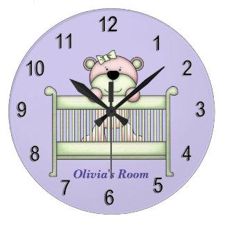 Grande Horloge Ronde Ours de nounours mignon de l'horloge des enfants