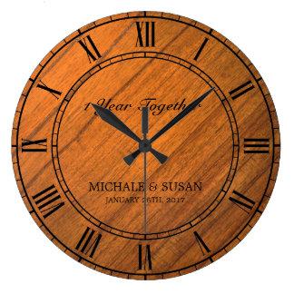 Grande Horloge Ronde Personnalisez l'anniversaire de mariage (l'arrière