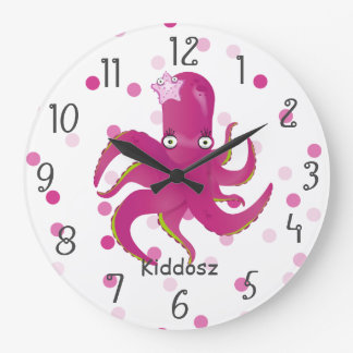 Grande Horloge Ronde Poulpe drôle d'enfants