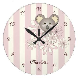 Grande Horloge Ronde Rose animal mignon de nom de pièce d'enfants de la
