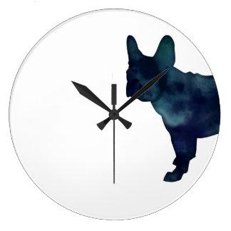 Grande Horloge Ronde Silhouette d'aquarelle de noir de bouledogue