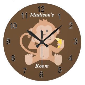 Grande Horloge Ronde Singe mignon de bébé de l'horloge des enfants