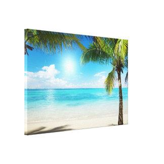 Grande plage vue d'impression d'art de toile prête impression sur toile