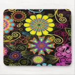 Grandes rétros fleurs colorées tapis de souris