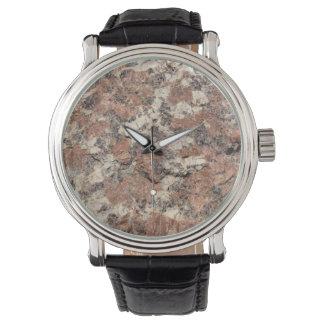 Granit-Felsen-Beschaffenheit --- Rosa Uhr
