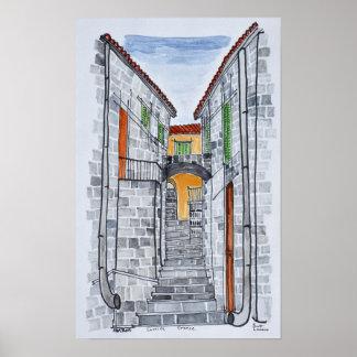Granit-Gebäude, Sartene | Korsika, Frankreich Poster