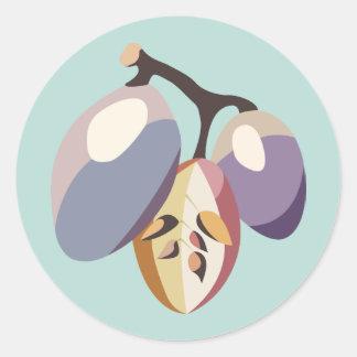 Grape fruit illustration runder aufkleber