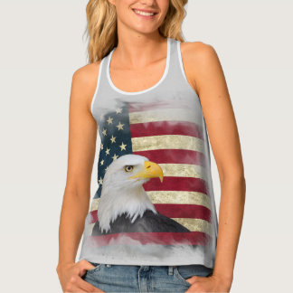 Grau beunruhigte patriotische US-Flagge, Tanktop