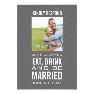 Grau essen Getränk ist verheiratetes Foto-Hochzeit 8,9 X 12,7 Cm Einladungskarte