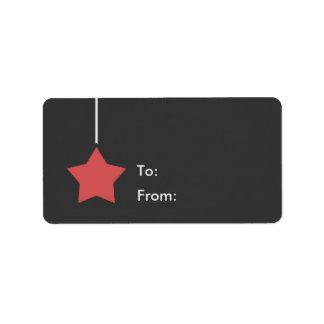 Grau mit rotem Stern-Feriengeschenk-Umbau Adressaufkleber
