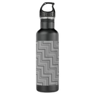 Grau stripes Treppenmuster Trinkflasche
