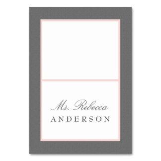 Grau u. erröten rosa elegante Hochzeits-Platzkarte Karte