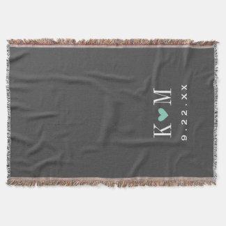 Grau und Aqua-modernes Hochzeits-Monogramm Decke