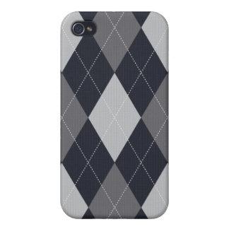 Grau und Schwarzes gestrickter Art-Raute Iphone iPhone 4 Hüllen