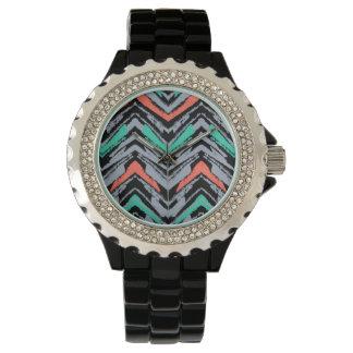 Graue, aquamarine und korallenrote Hand Uhr