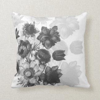 Graue Blumen-Blumenstrauß-Gewohnheits-Kissen Kissen