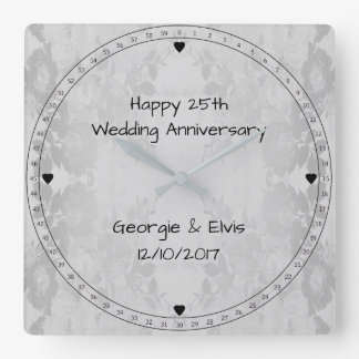Graue Blumen-glücklicher 25. Hochzeits-Jahrestag Quadratische Wanduhr