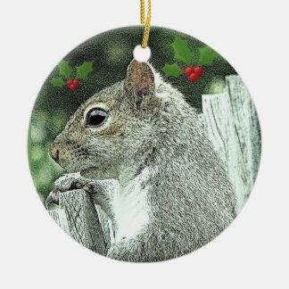 Graue Eichhörnchen-Weihnachtsverzierung 2017 Keramik Ornament