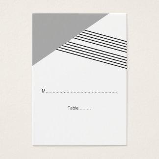 Graue geometrische Streifen-Hochzeits-Platzkarten Visitenkarte