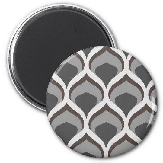 graue geometrische Tropfen Runder Magnet 5,7 Cm