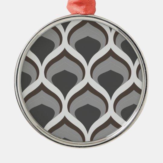 graue geometrische Tropfen Rundes Silberfarbenes Ornament