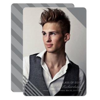 Graue gestreifte Foto-Abschluss-Mitteilung 2017 12,7 X 17,8 Cm Einladungskarte