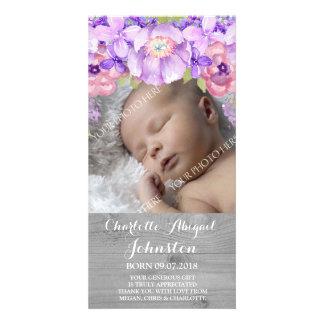 Graue hölzerne lila Lavendel-Blumen danken Ihnen Foto Karten