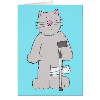 Graue Katze auf Krücke, Karte