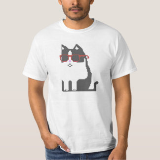 Graue Katze im roten Glas-Pixel-Kunst-T - Shirt