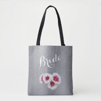 Graue personalisierte Braut-Hochzeits-Taschen-mit Tasche