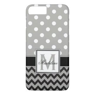 Graue, schwarze u. weiße Polka-Punkte und Zickzack iPhone 8 Plus/7 Plus Hülle