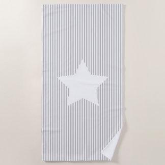 Graue Streifen u. Weiß-Stern-Badetuch Strandtuch
