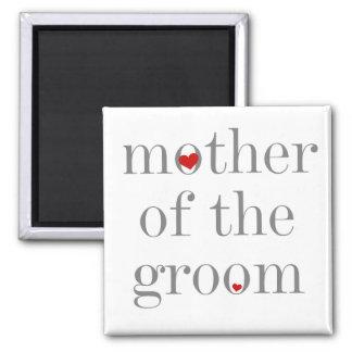 Graue Text-Mutter des Bräutigams Quadratischer Magnet