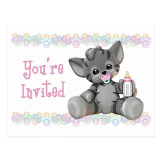 Graue Tiger-Kätzchen-Rosa-Babyparty-Einladung Postkarte