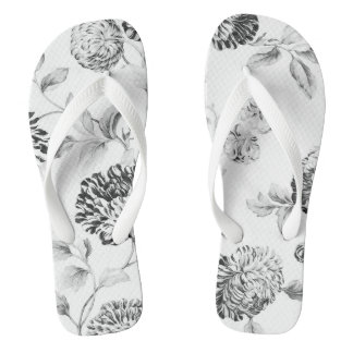 Graue Töne Vintages botanisches BlumenToile No.2 Flip Flops