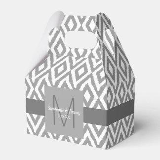 Graue u. weiße Ikat Muster-Monogramm-Hochzeit Geschenkschachteln