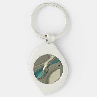 Graue und blaue abstrakte Kunst Schlüsselanhänger