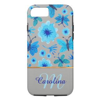 Graue und blaue Blumenschmetterlinge, iPhone 7 Hülle