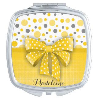 Graue und gelbe Tupfen, sonniges gelbes Band Taschenspiegel