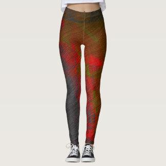 Graue und rote abstrakte Gamaschen Leggings