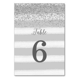 Graue und silberne Hochzeits-Tischnummer-Karte Karte