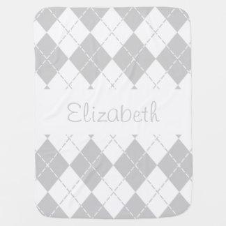 Graue und weiße Rauten-Baby-Namen-Decke Babydecke