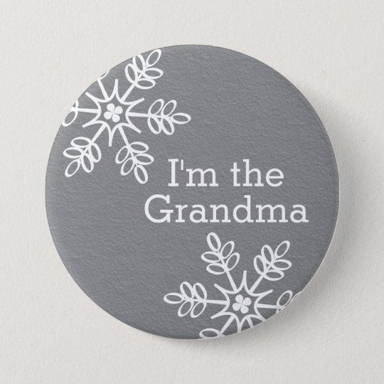 Graue und weiße Schneeflocke bin ich die Runder Button 7,6 Cm