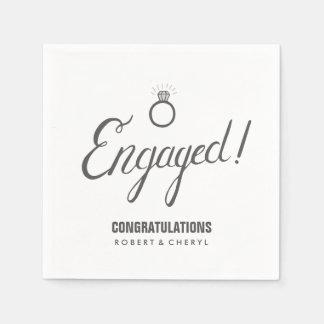 Graue und weiße Verlobungs-Party-Servietten Papierserviette