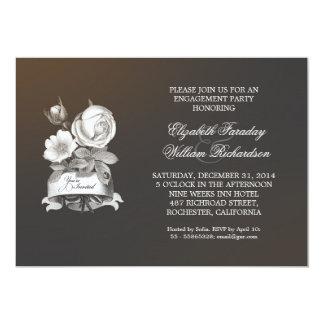 graue Vintage elegante Verlobungs-Party 12,7 X 17,8 Cm Einladungskarte