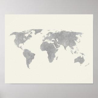 Graue Weltkarte auf Leinwandhintergrund Poster