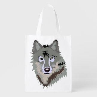 GRAUE WOLF ILUSTRATION wiederverwendbare Tasche Wiederverwendbare Einkaufstasche
