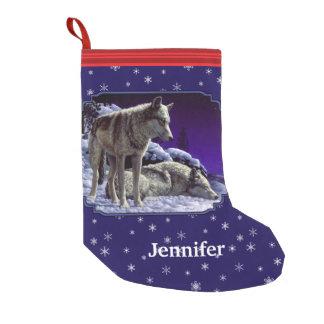 Graue Wölfe und Winter-Nachtschneeflocken Kleiner Weihnachtsstrumpf