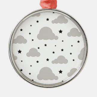 Graue Wolken und Schwarzsterne Silbernes Ornament